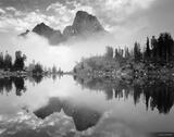 Misty Teton Reflection B/W print