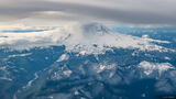 Mount Rainier Cloudy Aerial print