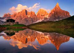 Baita Segantini, reflection, San Martino, Dolomites, Italy