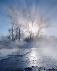 Uncompahgre River, winter sunrise, Ridgway, Colorado
