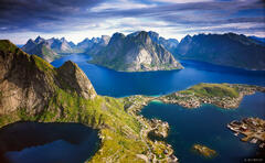 Reine, Norway, panorama, Kjerkfjorden, Moskenesøya, Lofoten