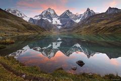 Sunset, Laguna Carhuacocha, Cordillera Huayhuash, Peru, Yerupaja, Jirishanca