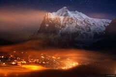 Grindelwald, Wetterhorn, moonlight, Jungfrau, Switzerland, Bernese, Alps