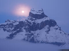 Hahnen, Engelberg, Switzerland, moon, Urner, Alps