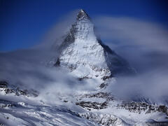 Matterhorn, winter, moonlight, Zermatt, Switzerland, Pennine, Alps