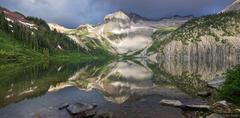 Snowmass Lake, reflection, panorama, Elk Mountains, Colorado, Maroon Bells-Snowmass Wilderness