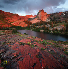 Sundial Peak, Wasatch Range, Utah, sunset, Lake Blanche