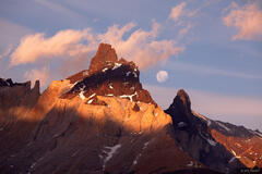 Torres del Paine, moon, Chile, moonrise