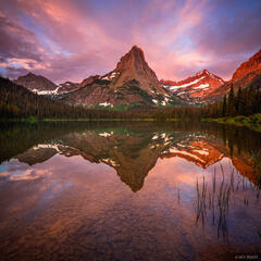 Pyramid Peak, Glacier National Park, Montana, sunrise, reflection, Glenns Lake