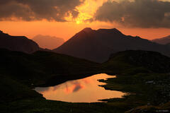 Allgäuer Alps, Germany, Hochalpsee, sunset, Alps