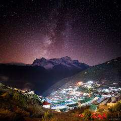 Himalaya,Khumbu,Namche Bazaar,Nepal,stars