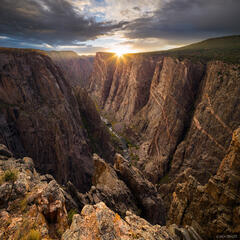 Black Canyon of the Gunnison, Colorado, Gunnison River, Black Canyon, national park, Painted Wall, sunset