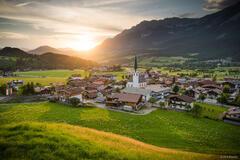 Austria, Ellmau, Kaisergebirge, Wilder Kaiser, sunset