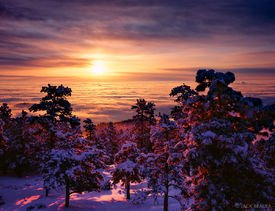 inversion, sunrise, Boulder, Colorado, winter