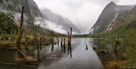 Waterfalls, Clinton River, Milford Track, Fiordland, New Zealand