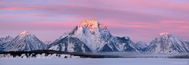 Mt. Moran, Tetons, Wyoming, sunrise, Jackson Lake, winter, panorama