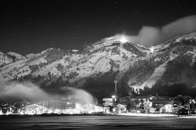 Tetons, Wyoming, moonlight, Teton Village, bw