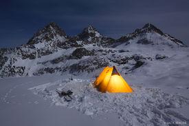 Hurricane Pass, Tetons, Wyoming, camp, night