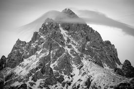 Tetons, Wyoming, bw, Grand Teton, Hurricane Pass, January, Grand Teton National Park