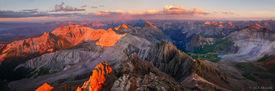 Mt. Sneffels, summit, panorama, alpenglow, San Juan Mountains, Colorado, Yankee Boy Basin