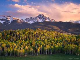 Mt. Sneffels, Colorado, San Juan Mountains, May, spring, aspens, sunset