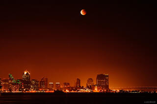 lunar eclipse, downtown, San Diego, California