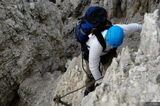 via ferrata, climbing, Averau, Cortina, Dolomites, Italy