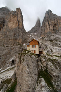 Torre Vajolet, alpine hut, Canazei, Dolomites, Italy