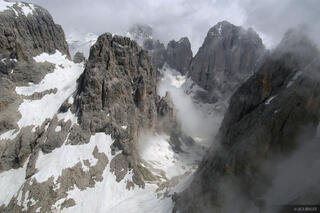 Cima Val di Roda, rugged mountain peaks, Dolomites, Italy