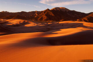 sunset, Great Sand Dunes, Mount Herard, Sangre de Cristos, Colorado