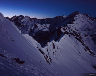 Outpost Peak, moonlight, Gore Range, Colorado