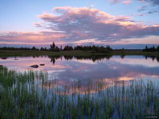 sunset, reflection, tundra, Flat Mountain