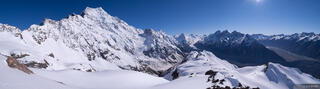 Aoraki, Mt. Cook, New Zealand, Ball Pass, panorama, Southern Alps