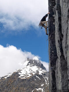 climber, Homer Saddle, Fiordland, New Zealand