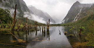 Waterfalls, Clinton River, Milford Track, Fiordland, New Zealand
