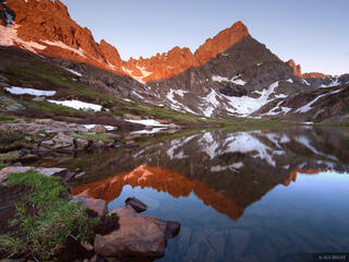 Crestone Needle, sunrise, South Colony Lake, Sangre de Cristos, Colorado