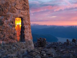 Skåla, Norway, Jostedalsbreen, sunset, hut