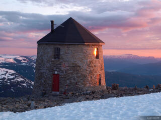Skåla, Norway, Jostedalsbreen, sunset, hut, Nordfjord