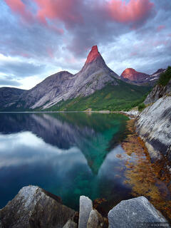 Stetind, Norway, Tysfjord, Narvik, sunset, reflection