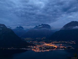 Andalsnes, Norway, Romsdalen, night