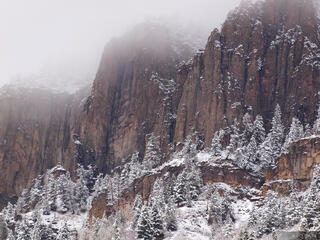 Ouray, Colorado, October, cliff, snowy