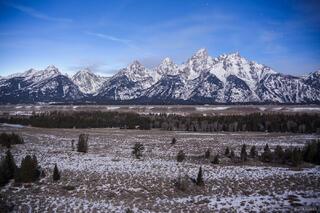 Tetons, Wyoming, moonlight, Jackson Hole, Grand Teton National Park