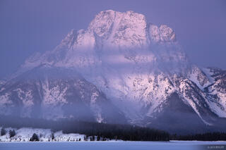 Mt. Moran, foggy, dawn, Jackson Lake, Wyoming, Tetons
