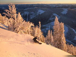snowboarding, Jackson Hole, Wyoming, Teton Pass, sunset