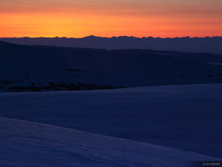 sunset, snow, Tetons, Wyoming