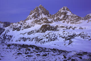 Tetons,Wyoming, twilight, Hurricane Pass, March