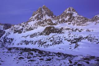 Tetons,Wyoming, twilight, Hurricane Pass, March