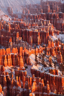 Bryce Canyon, sunrise, hoodoos, snowy, Utah, national park