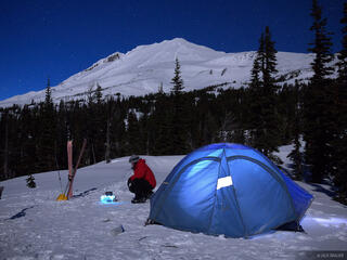 Mt. Adams, Washington, moonlight, tent, Mount Adams