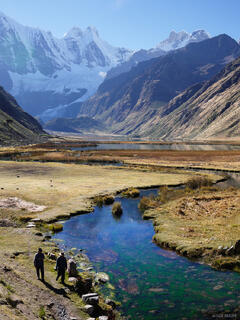 Jirishanca, Cordillera Huayhuash, Peru, stream, lake